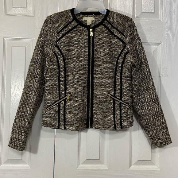Black Trim Tweed Blazer Top